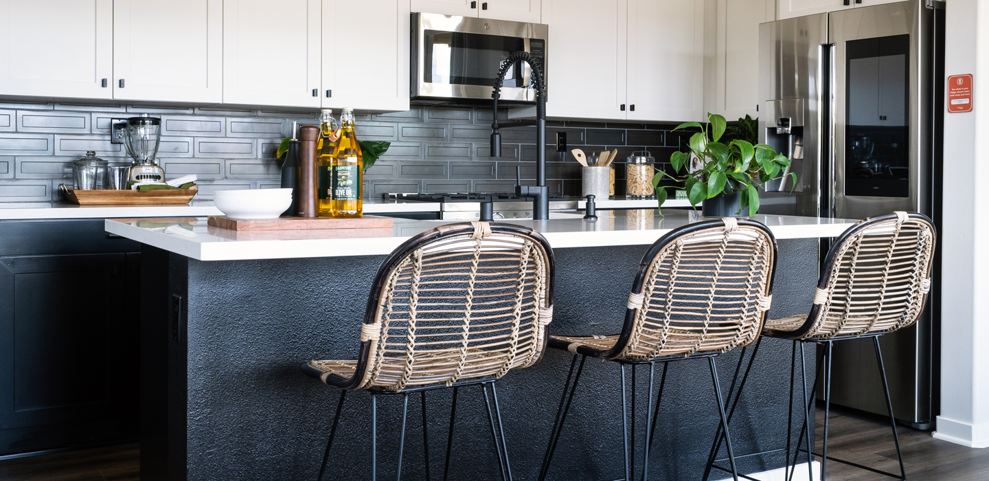 The Cottonwood - Kitchen built in microwave, tiled backsplash