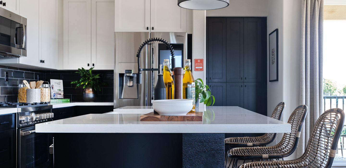 The Cottonwood - Kitchen, tall faucet, hanging light fixture